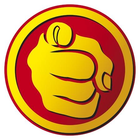 powerpoint: Mano dedo �ndice apuntando bot�n icono