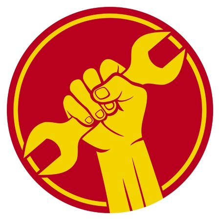 trabajador puño signo y llave