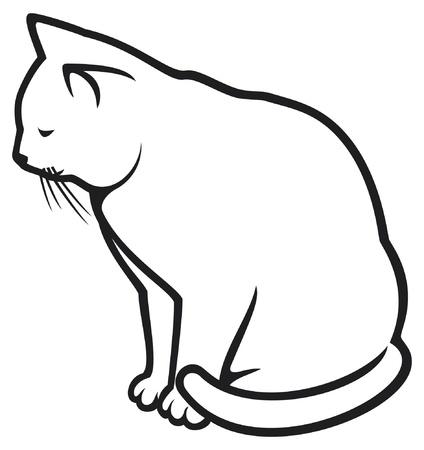 white cat: cat  illustration of a white cat  Illustration