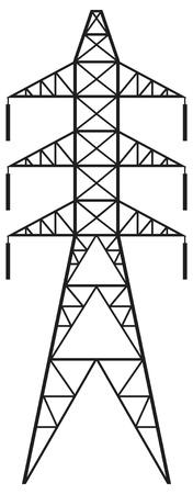 spannung: Power line Silhouette der Stromleitung und elektrische Pylon, elektrische �bertragungsleitung Illustration