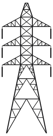 Power line  Silhouette of Power line and electric pylon, electric transmission line  Vector