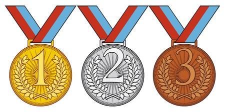 eerste plaats, de tweede plaats en derde plaats stellen van goud, zilver en bronzen medaille Vector Illustratie