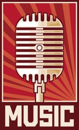omroep: muziek poster microfoon Stock Illustratie
