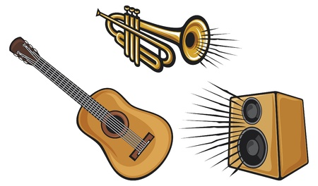 acoustical: trumpet, acoustic guitar and speaker