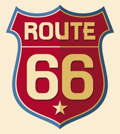 66: Historic Route US 66 Sign Illustration