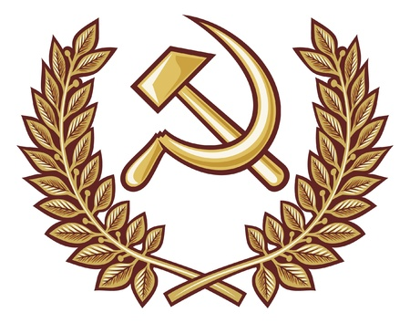 Symbol of USSR - hammer and sickle  hammer, sickle and laurel wreath  Vector