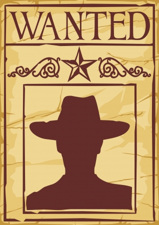 wild wild west: Wanted Poster silhouette cowboy Vettoriali