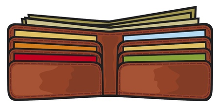 vector illustration of open wallet with dollars and credit cards (leather wallet with the money) Illustration