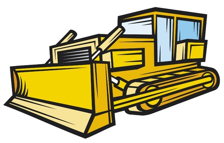 skid: yellow caterpillar building bulldozer (skid loader) Illustration