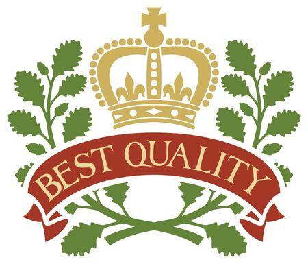 oak wreath: best quality  best quality symbol, best quality label  Illustration