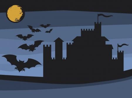 transylvania: bats flying in the moonlight and old castle  flight of a bats, illustrations of halloween night with bats flying over moon, castle silhouette, background with old castle for halloween part  Illustration