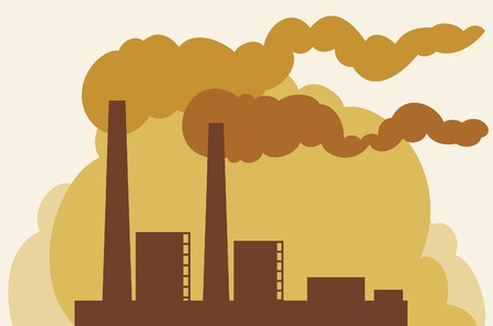 toxic emissions: industrial plant  industrial buildings factory, silhouette industrial factory
