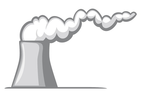 nuclear power plant  nuclear power station, cooling tower with smoke  Stock Vector - 15382154