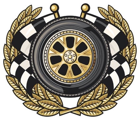 checkered flag: corona di alloro e ruota due bandiere incrociate a scacchi (pneumatici e due incrociate vinte, Gara sportiva disegno, emblema Gara sportiva, bandiera a scacchi, corsa bandiera a scacchi incrociate, bandiere finitura)