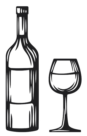 bottle of wine and glass (wine glass and bottle) Illustration