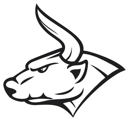 bull head  white bull  Vector