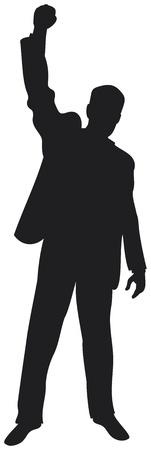 homme d'affaires avec les bras célèbre homme d'affaires prospère, heureux homme d'affaires, homme d'affaires silhouette avec ses bras en appréciant son succès