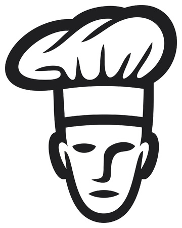 chapeau chef: Chef cuisinier symbole visage, chef cuisinier, chef ic�ne Illustration