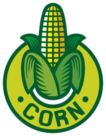 mazorca de maiz: etiqueta ma�z ma�z s�mbolo, signo de ma�z, ma�z insignia