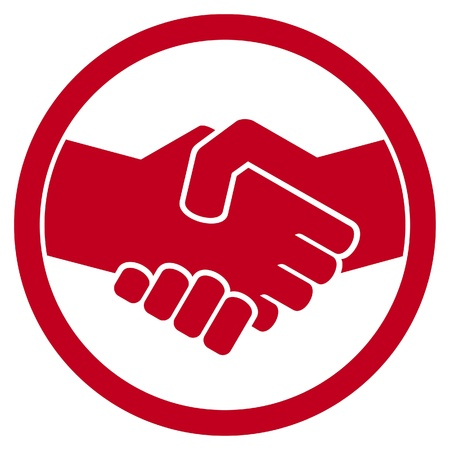 saludo de manos: s�mbolo de apret�n de manos apret�n de manos emblema, signo apret�n de manos Vectores
