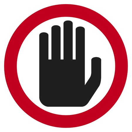 stop hand: stop sign