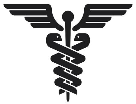 caduceo: caduceus médica símbolo emblema de farmacia o medicina, señal médico, símbolo de la farmacia, farmacia símbolo serpiente