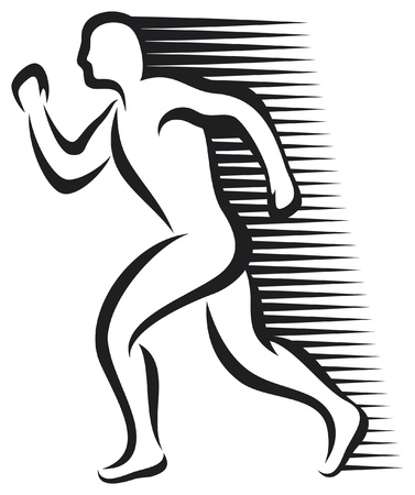 athletic symbol: abstract runner  marathon runner, running sportsman, athletic man running  Illustration