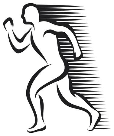 maratón: abstraktní běžec maratónský běžec, běh sportovec, atletický muž běží