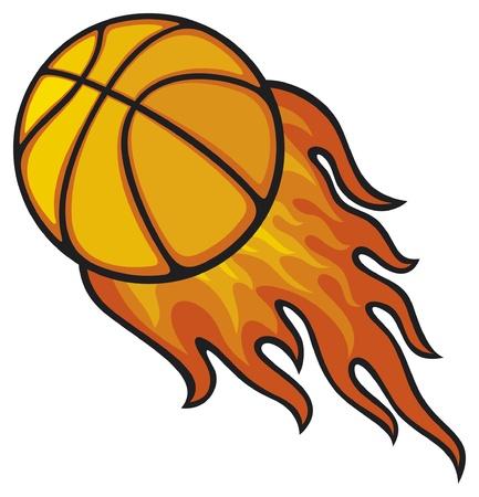 basketball shot: basketball ball in fire