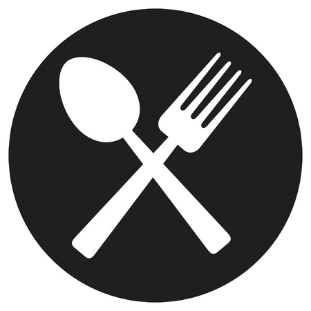 crossed fork and spoon  food icon, food symbol  Vector