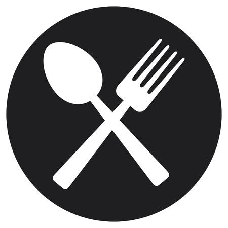 cubiertos de plata: tenedor cruzados y comida cuchara icono, símbolo alimentos Vectores