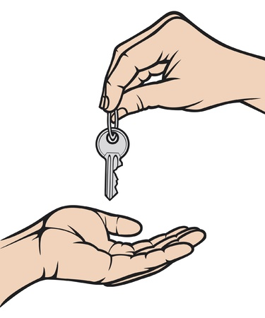 give hand: hand giving a key to another hand  handing over the keys, a person handing over the key to another person