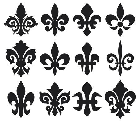 frances: Flor del lirio - símbolo heráldico de la flor de lis real francesa símbolos lirio para el diseño y decorar, lirio flores colección, flores de lis establecer