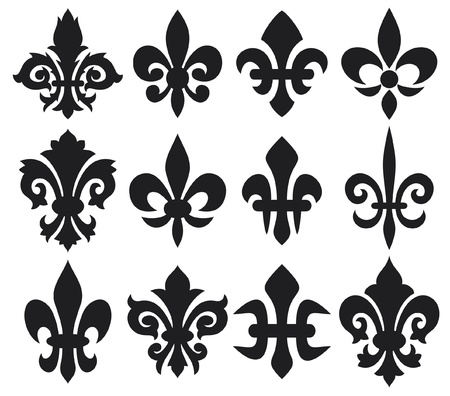 fleur de lis: lily flower - heraldic symbol fleur de lis  royal french lily symbols for design and decorate, lily flowers collection, lily flowers set