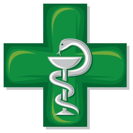 farmacia: m�dica cruz emblema s�mbolo de farmacia o medicina, muestra m�dica verde, serpiente y un cuenco, taz�n de Hygieia, s�mbolo de la farmacia, farmacia s�mbolo serpiente, m�dico Vectores