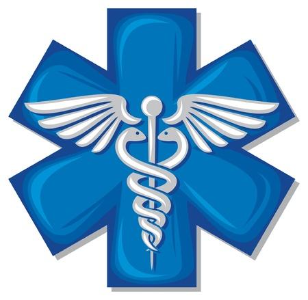 caduceus medisch symbool embleem voor drogisterij of geneeskunde, medisch teken, symbool van apotheek, apotheek slangsymbool