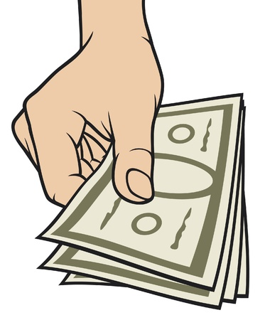 giving money: hand giving money  hand with money, hand holding banknotes, money in the hand  Illustration