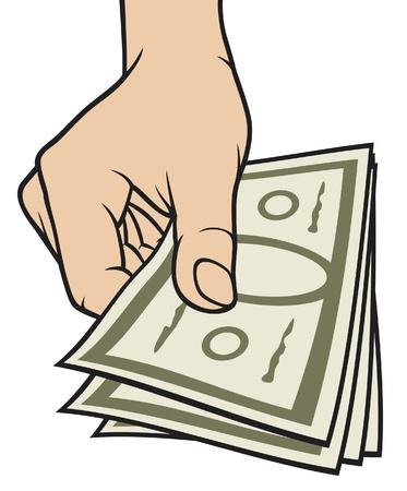 gotówka: strony daje pieniądze z ręki pieniądze, banknoty, gospodarstwa, dłoń, pieniądze w dłoni Ilustracja
