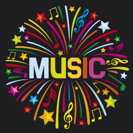 notes de musique: conception de musique de musique de feu d'artifice Illustration