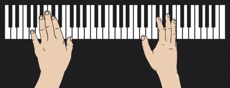 예행 연습: 피아노 피아노를 연주, 피아노 연주를 재생하는 손