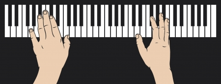 hands playing piano  playing piano, piano play  Vector