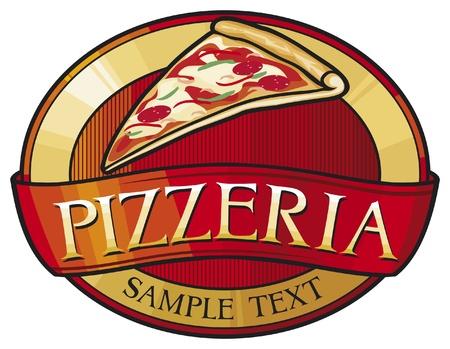 pepperoni pizza: pizzeria label design