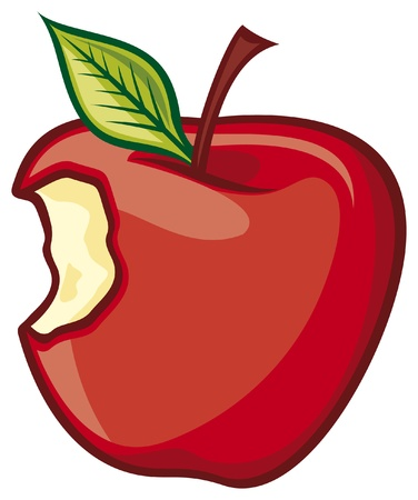 Red Bitten apple (Fresh Apple) Vector