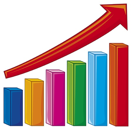 illustration of bar graph (increase diagram, graph showing rise in profits or earnings) Vector