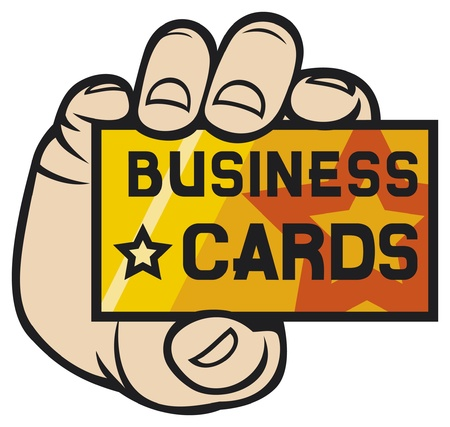 hand holding card: hand houden visite kaartje