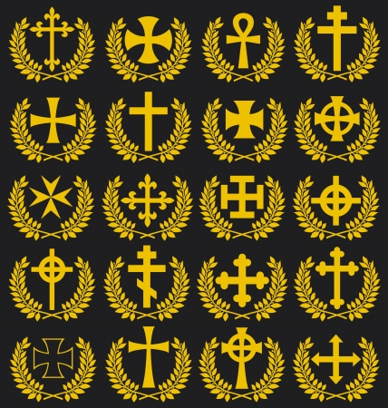 kingdom of god: Big collection of vector isolated crosses (crosses with a laurel wreath)