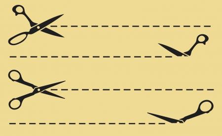 Vector scissors cut lines (cutting scissors) Stock Vector - 15464076