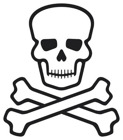 calaveras: cr�neo y huesos (s�mbolo del pirata, cr�neo y huesos cruzados, cr�neo con huesos cruzados) Vectores