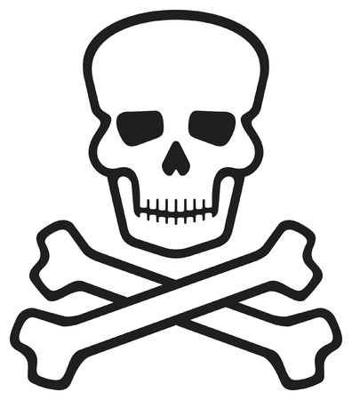 crossbones: skull and bones (pirate symbol, skull and cross bones, skull with crossed bones) Illustration