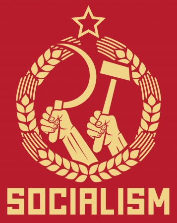 protest signs: socialism poster (soviet poster, socialism poster, ussr propaganda, hands holding hammer and sickle, wreath of wheat)